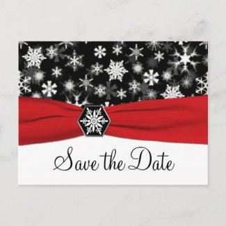 Black, White, Red Snowflakes Save the Date Card postcard