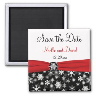 Black, White, Red Snowflakes Save the Date Magnet magnet