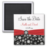Black, White, Red Snowflakes Save the Date Magnet