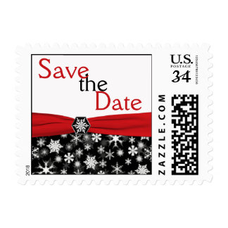 Black White Red Snowflakes Save the Date Postage