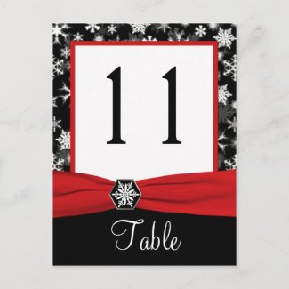 Black, White, Red Snowflakes Table Number Card postcard