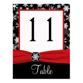 Black, White, Red Snowflakes Table Number Card Post Cards