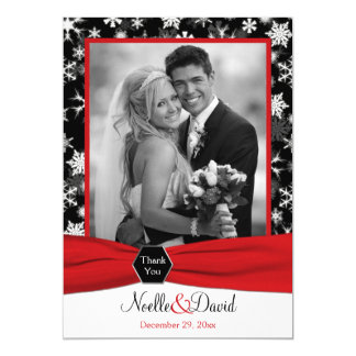 Black, White, Red Snowflakes Thank You Card - Flat