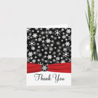 Black, White, Red Snowflakes Thank You Note Card card
