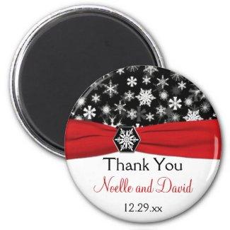 Black, White, Red Snowflakes Wedding Favor Magnet magnet
