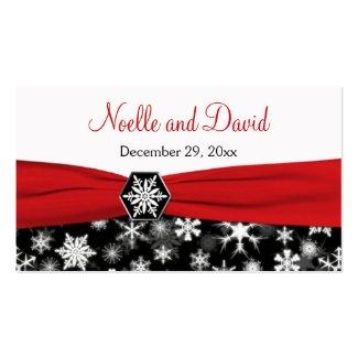 Black, White, Red Snowflakes Wedding Favor Tag profilecard