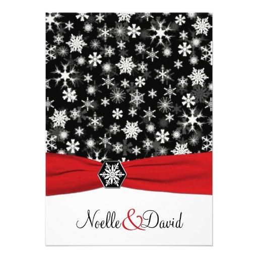 Black White Red Snowflakes Wedding Invitation 5 X 7 Invitation Card