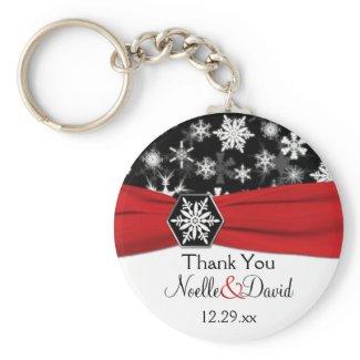 Black, White, Red Snowflakes Wedding Key Chain keychain