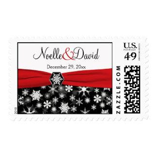 Black, White, Red Snowflakes Wedding Postage