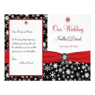 Black, White, Red Snowflakes Wedding Program