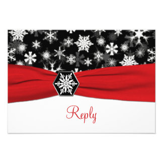 Black White Red Snowflakes Wedding Reply Card Personalized Announcements