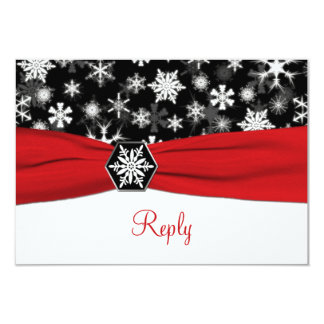 Black, White, Red Snowflakes Wedding Reply Card Personalized Announcements