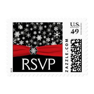 Black, White, Red Snowflakes Wedding RSVP Postage