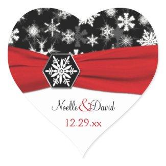 Black, White, Red Snowflakes Wedding Sticker sticker