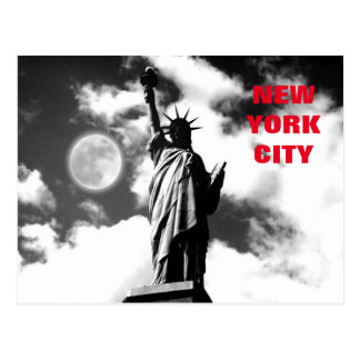 Black & White Red Statue of Liberty New York City Postcard