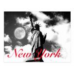 Black White Red Statue of Liberty New York City Postcard