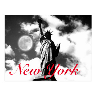 Black White Red Statue of Liberty New York City Postcard