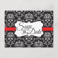 Black White Red Stripe Frame Damask Wedding Announcement Postcard