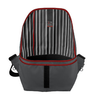 Black, White, & Red Stripe Lining Man's Commuter Courier Bag