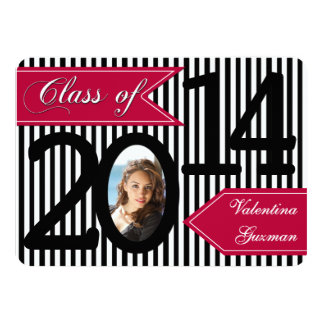 Black White Red Striped Photo Graduation Invite