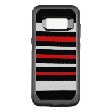 Beach Themed Black White Red Stripes Cool Simple Patterns OtterBox Commuter Samsung Galaxy S8 Case