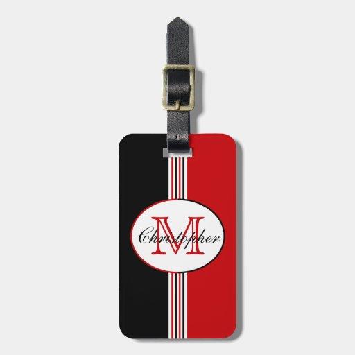 Black White Red Stripes Monogram Tag For Luggage