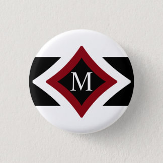 Black, White & Red Stylish Diamond Shaped Monogram Button