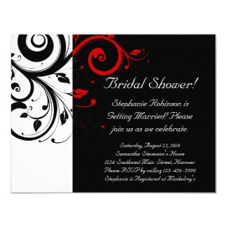 Black, White, Red Swirl Bridal Shower / General 4.25x5.5 Paper Invitation Card