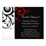 Black, White, Red Swirl Bridal Shower / General Card