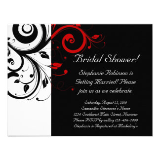 Black White Red Swirl Bridal Shower General Personalized Invites