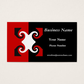 black, white,  red swirl business card