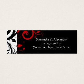 Black/White/Red Swirl Gift Registry Insert Cards
