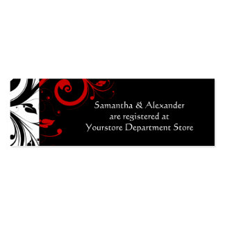Black/White/Red Swirl Gift Registry Insert Cards Business Card