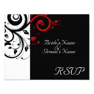 Black +White Red Swirl Wedding Matching RSVP 4.25x5.5 Paper Invitation Card