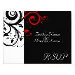 Black  White Red Swirl Wedding Matching RSVP Card