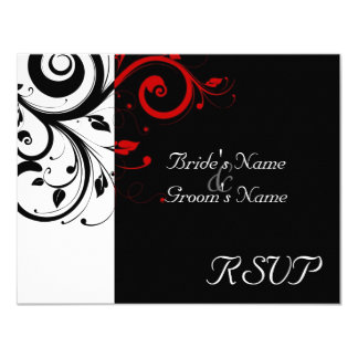 Black +White Red Swirl Wedding Matching RSVP Card
