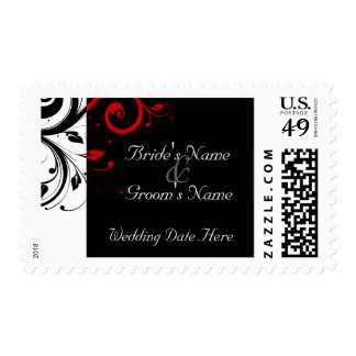 Black, White, Red Swirl Wedding Postage Stamps