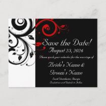 Black, White, Red Swirl Wedding Save the Date