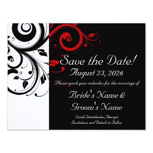 Black, White, Red Swirl Wedding Save the Date 4.25x5.5 Paper Invitation Card