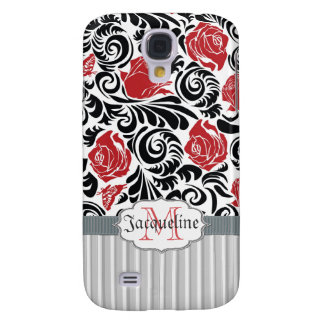 Black, white, red swirls roses iPhone 3G/3GS Spec Galaxy S4 Cover