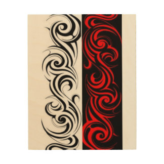 Black White Red Swirly Abstract Design Wood Wall Art