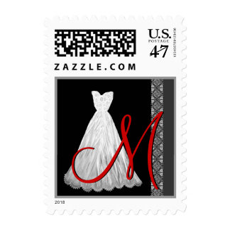 BLACK WHITE RED Wedding Dress Monogram tamp Postage