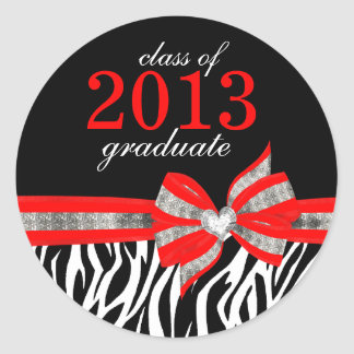 Black White Red Zebra Graduation Seal Sticker