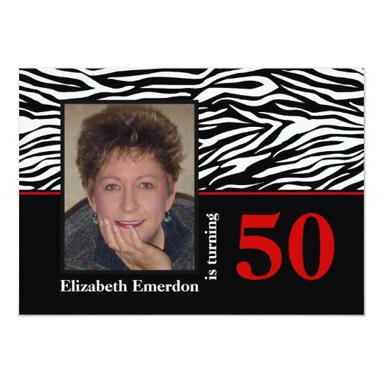 Black white red zebra print 50th birthday photo card