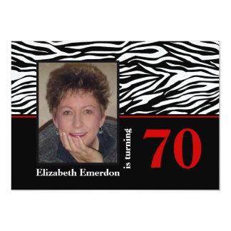 Black white red zebra print 70th birthday photo card