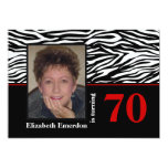 Black white red zebra print 70th birthday photo custom invite