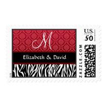 Black White Red Zebra Print Monogram Wedding Postage