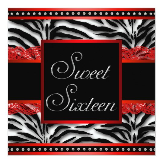 Black White Red Zebra Sweet 16 Party Card