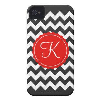 Black, White & Red Zig Zag Custom Initial Case-Mate iPhone 4 Case