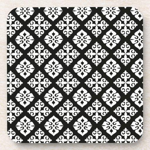 Black & White Regal Pattern Drink Coaster
